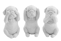 DOG set of 3 white