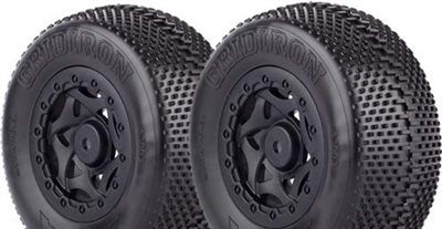 AKA Gridiron SC Clay Tires Mounted On Losi SCTE Black Rims (2)