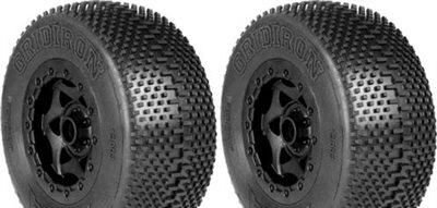 AKA Gridiron SC Tires-Soft For SC10 Front On Black Rims (2)
