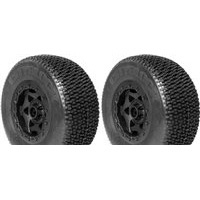 AKA City Block SC Tires-Super Soft -SC10 Front On Black Rims (2)