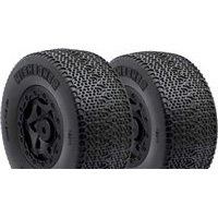 AKA Wishbone 2 Wide SC Clay Tires On Losi SCTE Black Rims (2)