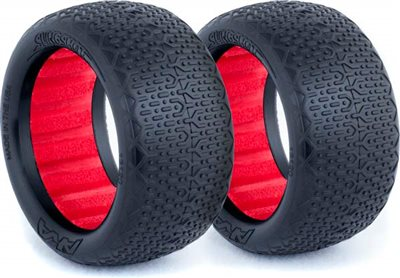 AKA 1/10 Buggy Evo Rear Typo Tires, Red Inserts, Super Soft