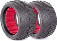 AKA 1/10 Buggy Evo Rear Gridiron Tires, Red Ins, Super Soft (2)