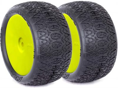 AKA 1/10 Buggy Evo Chain Link Rear Tires On Yel Rims, S. Soft (2)