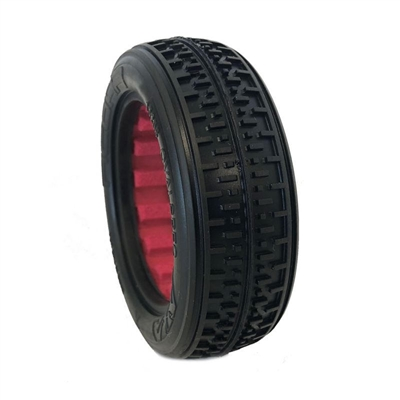 AKA 1/10 Buggy 2wd Front Rebar Tires, Soft with Red Inserts(2)