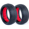 AKA 1/10 Evo 4wd Front Typo Tires, Red Inserts, Clay (2)