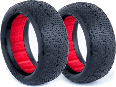 AKA 1/10 Evo 4wd Front Typo Tires, Red Inserts, Super Soft