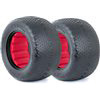 AKA 1/10 Typo Stadium Truck Tires With Red Inserts, Clay (2)