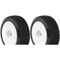AKA City Block 1/8 Buggy Soft Tires On White Evo Rims (2)