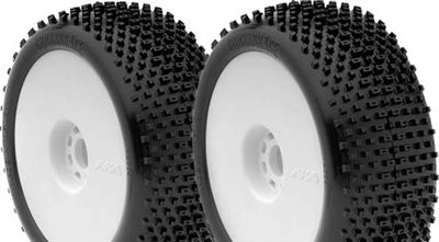 AKA Cross Brace 1/8 Buggy Soft Tires On White Evo Rims (2)