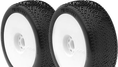 AKA Wishbone 1/8th Buggy Tires, Clay On White Evo Rims (2)