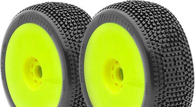 AKA Impact 1/8 Buggy Super Soft Tires On Yellow Evo Rims (2)
