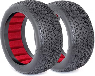 AKA Typo 1/8 Buggy Clay Tires With Red Inserts (2)