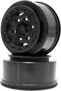 AKA Racing Short Course Rear Cyclone Rims For SC10, Black (2)