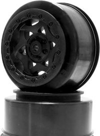 AKA Racing Short Course Fr/Rr Cyclone Rims For SC10 4x4, Black (2)