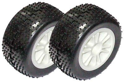 Associated RC18T2/18B2/18B Rear Tires On White Spoked Rims (2)