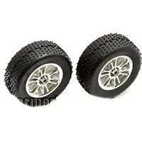 Associated RC18B2/18T/18B Front Spoked Rims, Chrome With Tires (2)