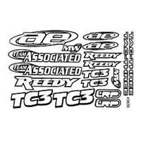 Associated Team Associated Decals, White On Black
