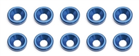 Associated RC8/RC8RS FT Countersunk Washers, blue aluminum (10)