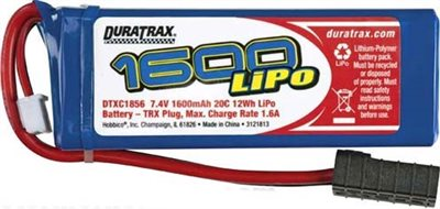 Duratrax 1600mAh 20c 7.4v Lipo Battery For Traxxas 1/16 Trucks