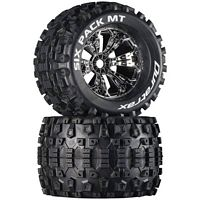 "Duratrax Six Pack MT 3.8"" Tires mounted on Chrome Rims 1/2"" offset (2)"