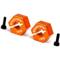 Exotek Racing XB4 12mm Rear Hexes, 7mm Wide, Orange Aluminum (2)