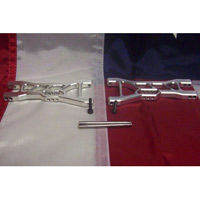 Fast Lane Machine Nitro Rustler Extended Front Arms-Silver Aluminum (2)