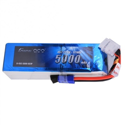 Gens Ace 5000mAh 6s 45C 22.2V Lipo Battery Pack with EC5 Plug