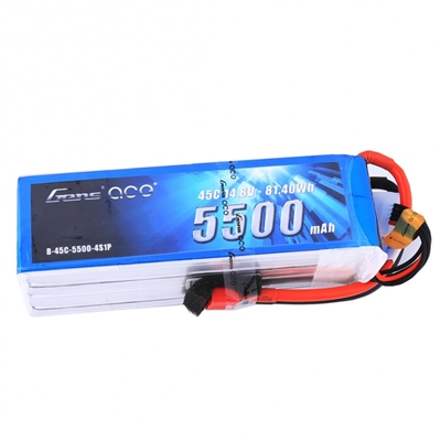 Gens Ace 5500mAh 4S 45C 14.8V Lipo Battery Pack with WSDeans Plug