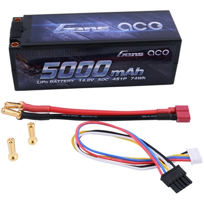 Gens Ace 5000mAh 50C 14.8V 4S Lipo Battery with Deans connector