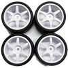Gravity RC USGT Spec Tires mounted on White 6 Spoke Rims (4)