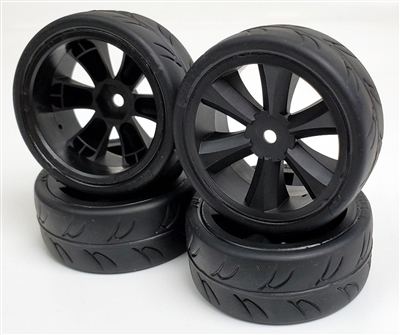 Gravity RC USGT Spec Tires mounted on Black GT Rims (4)