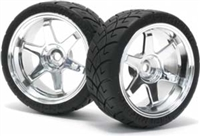 HPI Mounted X-Pattern Tires On 0mm Offset Chrome 26mm Rims (2)