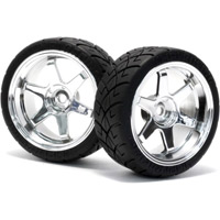 HPI Mounted X-Pattern Tires On 3mm Offset Chrome 26mm Rims (2)