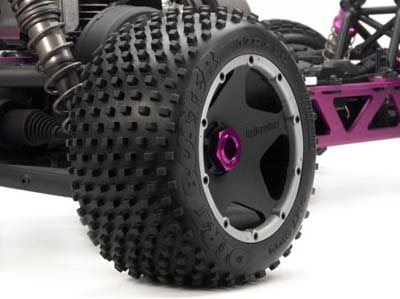 HPI Baja 5B Rear Dirt Buster Block Tires On Black Rims (2)