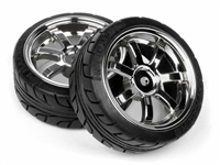 HPI 26mm T-Grip Tires Mounted On Rays 57s-Pro Chrome Rims (2)