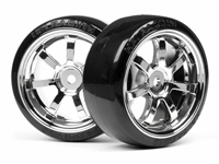 HPI 26mm T-Drift Tires Mounted On Rays 57s-Pro Chrome Rims (2)