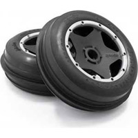 HPI Baja 5B Sand Buster Front Rib Tires On Black Rims (2)
