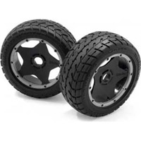HPI Baja 5B Tarmac Buster Front Street Tires On Black Rims (2)