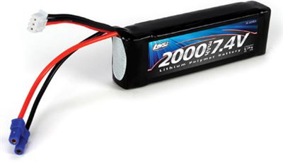 Losi Mini 8ight 7.4v 2s 20c Long Lipo Battery Pack-Ec2 Plug-2000mAh
