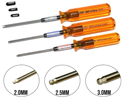 M.I.P. Metric Ball Tip Hex Driver Wrench Set (1.5mm, 2.0mm, 2.5mm)