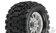 "Pro-Line Badlands MX38 3.8"" Traxxas Style Bead All-Terrain Tires Mounted on 17mm F-11 Stone Gray 1/2"" Offset Rims (2)"