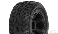Pro-Line 1/16th E-Revo Dirt Hawg Tires on Black Desperado Rims (2)