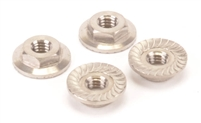 Schumacher M4 Flanged Low Profile Serrated Nuts, titanium