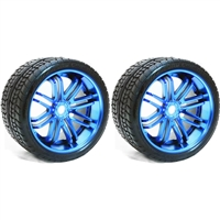 Sweep Road Crusher Belted Monster Truck Tires on Blue Rims (2)