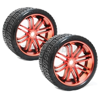 Sweep Road Crusher Belted Monster Truck Tires on Red Rims (2)