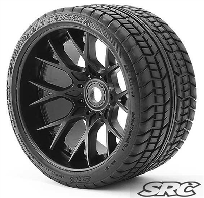 "Sweep Road Crusher Belted Monster Truck Tires on Black 1/2"" Wide Offset Rims (2)"