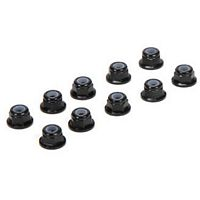 Losi M3 Flanged Lock Nuts, black aluminum (10) for all 22