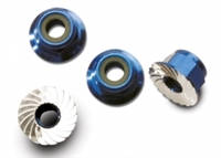 Traxxas 4mm Flanged Serrated Blue Lock Nuts (4)