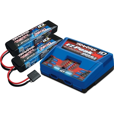 Traxxas Dual iD Charger with 2 - 7600mAh 7.4v 2S Lipo Batteries